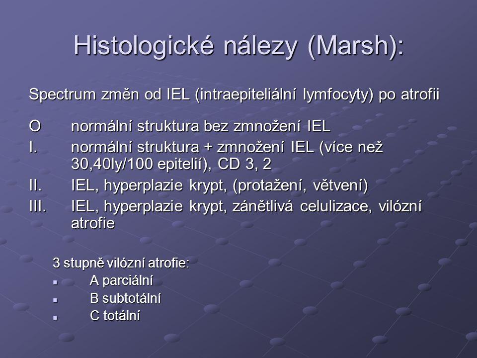 Histologické nálezy (Marsh): Spectrum změn od IEL (intraepiteliální lymfocyty) po atrofii Onormální struktura bez zmnožení IEL I.normální struktura + zmnožení IEL (více než 30,40ly/100 epitelií), CD 3, 2 II.IEL, hyperplazie krypt, (protažení, větvení) III.IEL, hyperplazie krypt, zánětlivá celulizace, vilózní atrofie 3 stupně vilózní atrofie:  A parciální  B subtotální  C totální