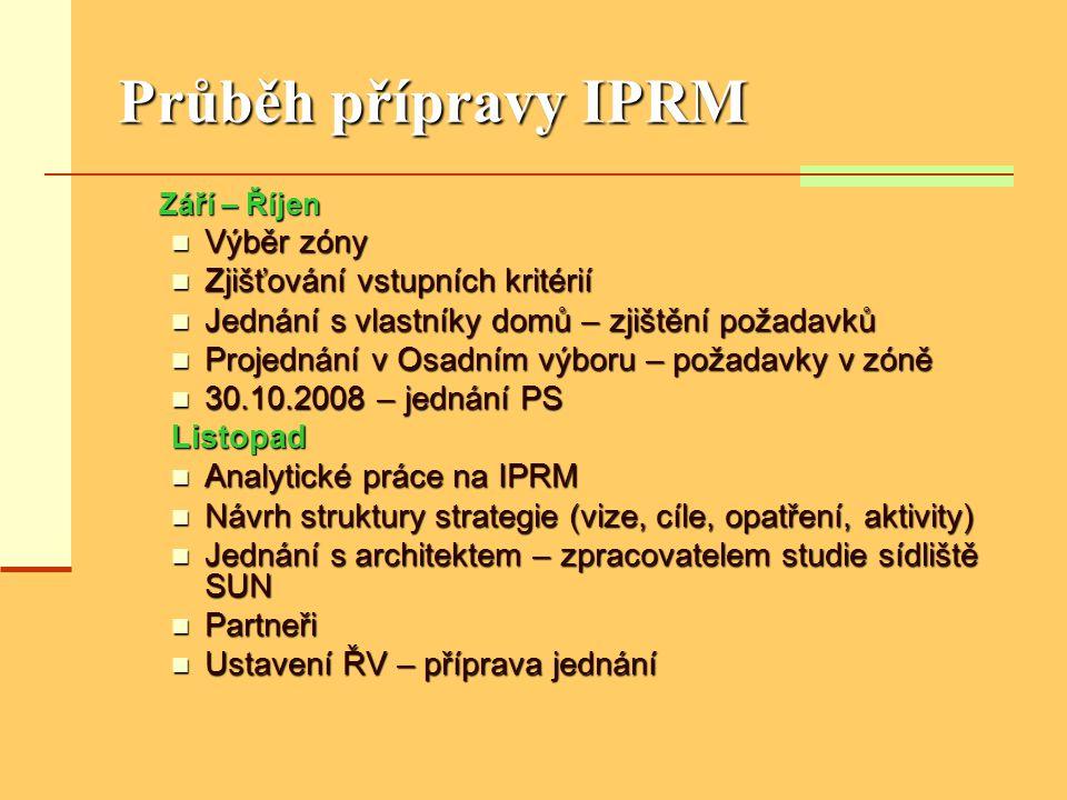Průběh přípravy IPRM Září – Říjen Září – Říjen  Výběr zóny  Zjišťování vstupních kritérií  Jednání s vlastníky domů – zjištění požadavků  Projednání v Osadním výboru – požadavky v zóně  30.10.2008 – jednání PS Listopad  Analytické práce na IPRM  Návrh struktury strategie (vize, cíle, opatření, aktivity)  Jednání s architektem – zpracovatelem studie sídliště SUN  Partneři  Ustavení ŘV – příprava jednání