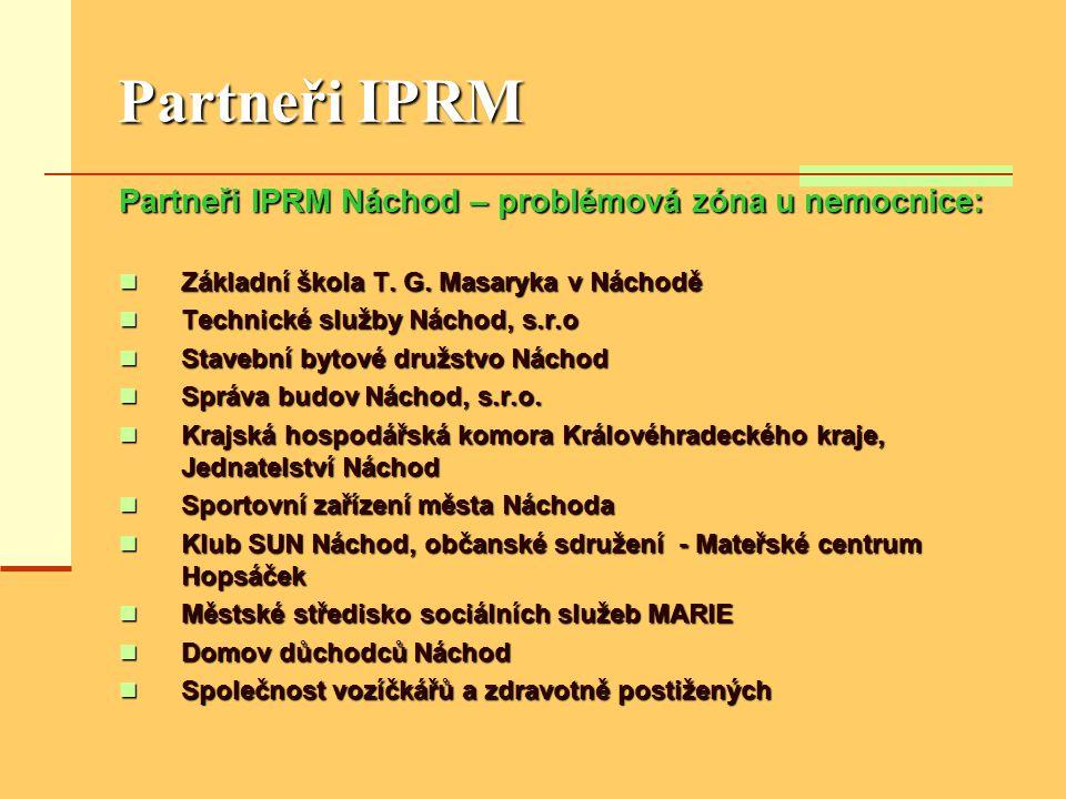 Partneři IPRM Partneři IPRM Náchod – problémová zóna u nemocnice:  Základní škola T. G. Masaryka v Náchodě  Technické služby Náchod, s.r.o  Stavebn