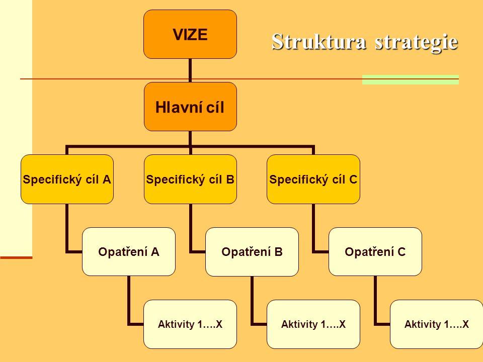 Struktura strategie VIZE Hlavní cíl Specifický cíl A Opatření A Aktivity 1….X Specifický cíl B Opatření B Aktivity 1….X Specifický cíl C Opatření C Ak