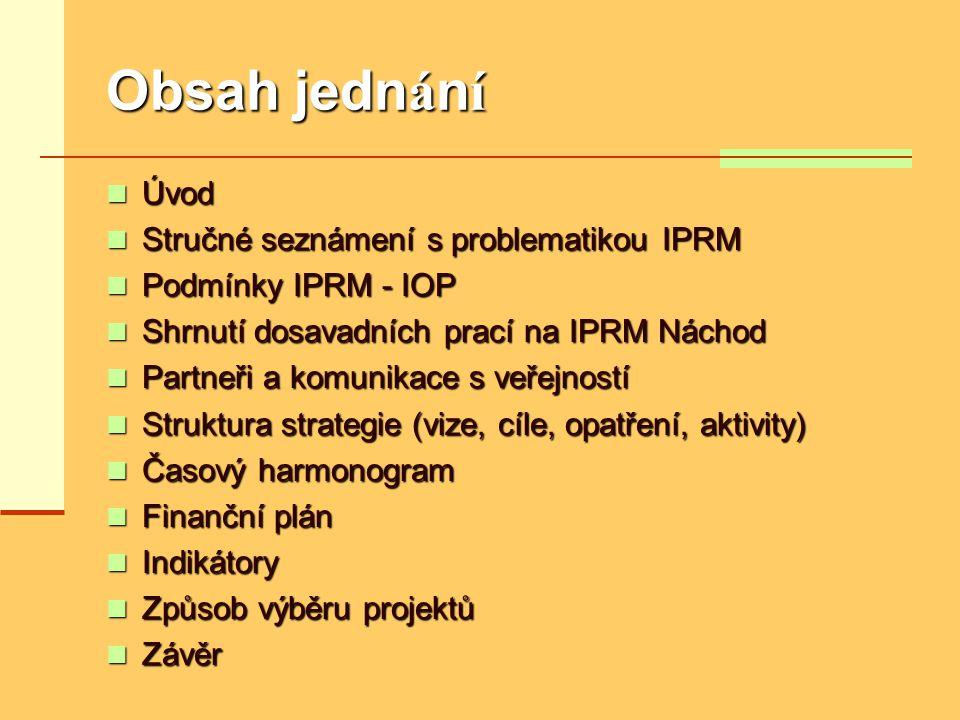 Obsah jedn á n í  Úvod  Stručné seznámení s problematikou IPRM  Podmínky IPRM - IOP  Shrnutí dosavadních prací na IPRM Náchod  Partneři a komunik