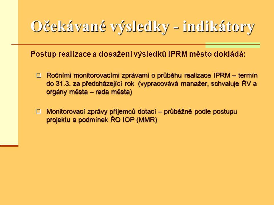 Očekávané výsledky - indikátory Postup realizace a dosažení výsledků IPRM město dokládá:  Ročními monitorovacími zprávami o průběhu realizace IPRM – termín do 31.3.