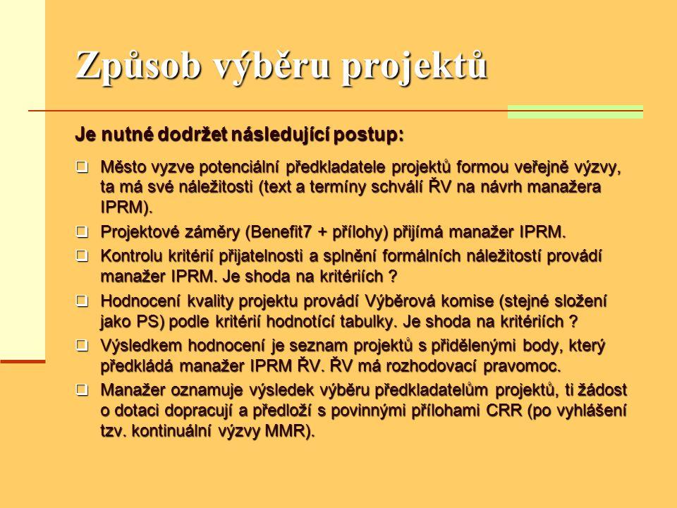 Způsob výběru projektů Je nutné dodržet následující postup:  Město vyzve potenciální předkladatele projektů formou veřejně výzvy, ta má své náležitosti (text a termíny schválí ŘV na návrh manažera IPRM).