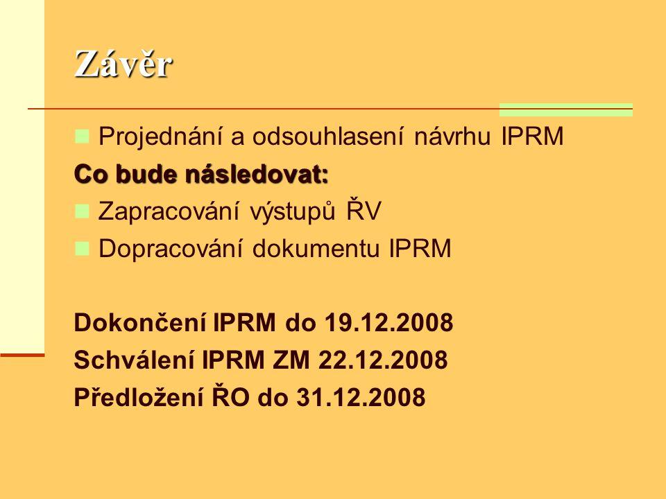 Závěr  Projednání a odsouhlasení návrhu IPRM Co bude následovat:  Zapracování výstupů ŘV  Dopracování dokumentu IPRM Dokončení IPRM do 19.12.2008 Schválení IPRM ZM 22.12.2008 Předložení ŘO do 31.12.2008