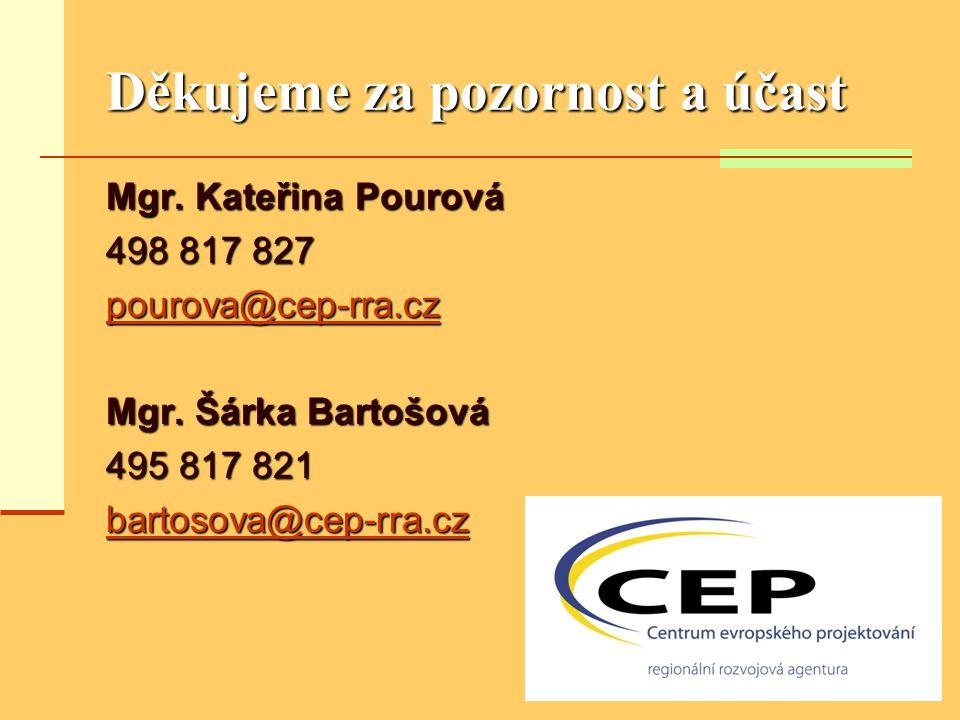 Děkujeme za pozornost a účast Mgr. Kateřina Pourová 498 817 827 pourova@cep-rra.cz Mgr. Šárka Bartošová 495 817 821 bartosova@cep-rra.cz
