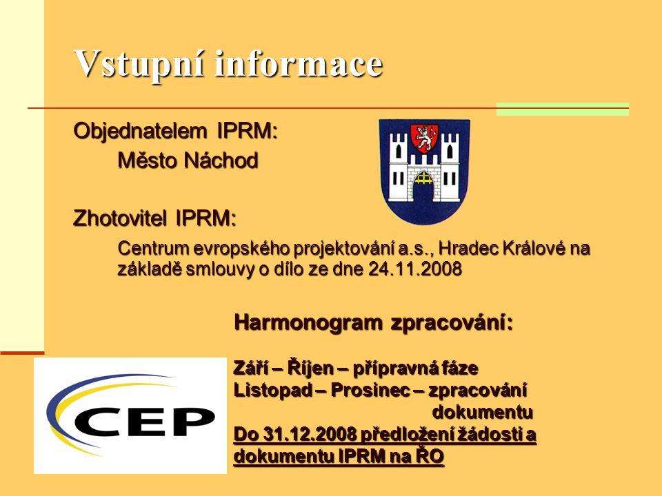Vstupní informace Objednatelem IPRM: Město Náchod Zhotovitel IPRM: Centrum evropského projektování a.s., Hradec Králové na základě smlouvy o dílo ze d