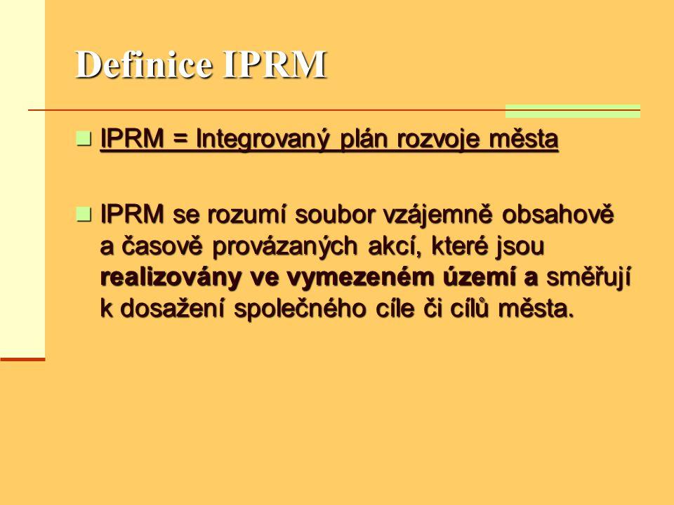 Definice IPRM  IPRM = Integrovaný plán rozvoje města  IPRM se rozumí soubor vzájemně obsahově a časově provázaných akcí, které jsou realizovány ve v