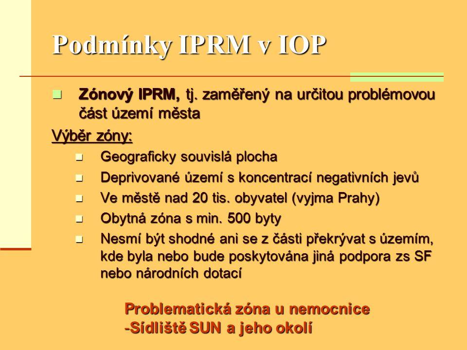 Podmínky IPRM v IOP  Zónový IPRM, tj. zaměřený na určitou problémovou část území města Výběr zóny:  Geograficky souvislá plocha  Deprivované území