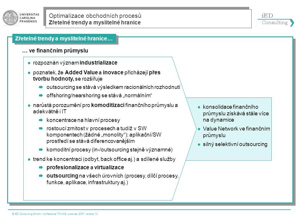 © iED Consulting GmbH, Konference TIMING; prosinec 2007, strana 10 Zřetelné trendy a myslitelné hranice… Optimalizace obchodních procesů Zřetelné tren
