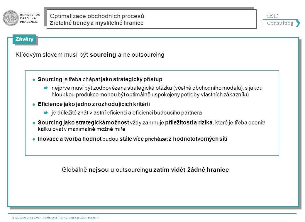 © iED Consulting GmbH, Konference TIMING; prosinec 2007, strana 11 Závěry Optimalizace obchodních procesů Zřetelné trendy a myslitelné hranice  Sourc
