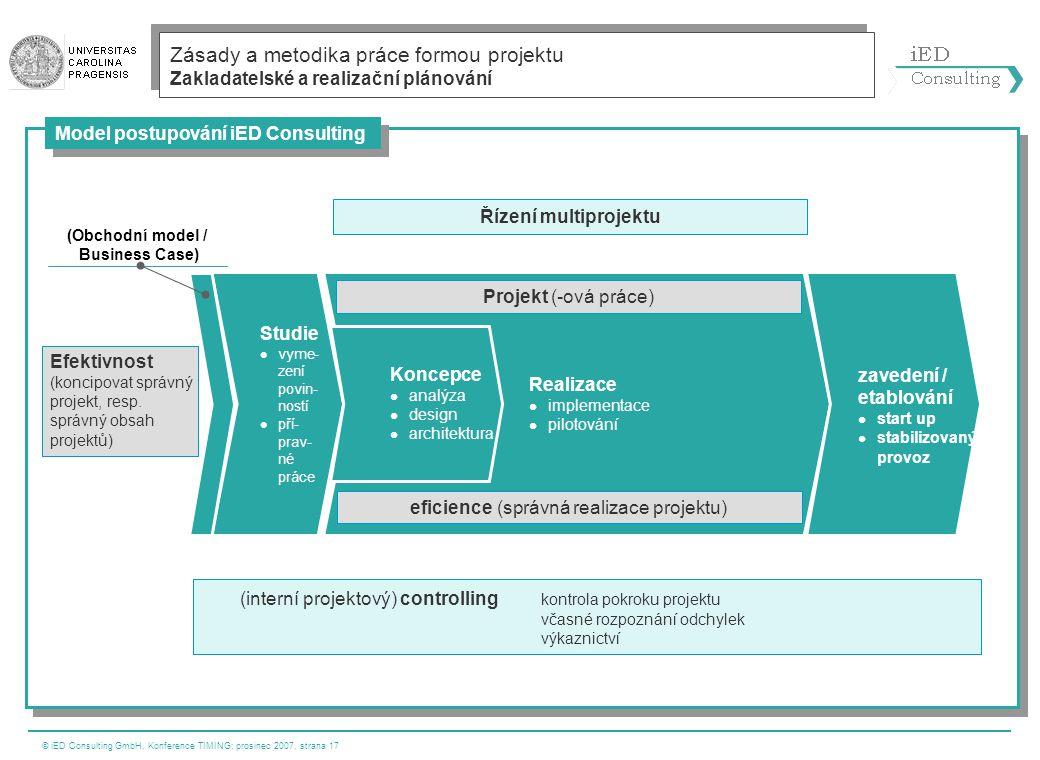 © iED Consulting GmbH, Konference TIMING; prosinec 2007, strana 17 Zásady a metodika práce formou projektu Zakladatelské a realizační plánování Řízení