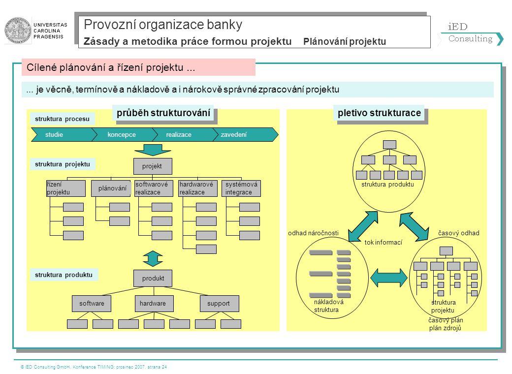 © iED Consulting GmbH, Konference TIMING; prosinec 2007, strana 24 struktura produktu struktura projektu nákladová struktura zavedenírealizacekoncepce