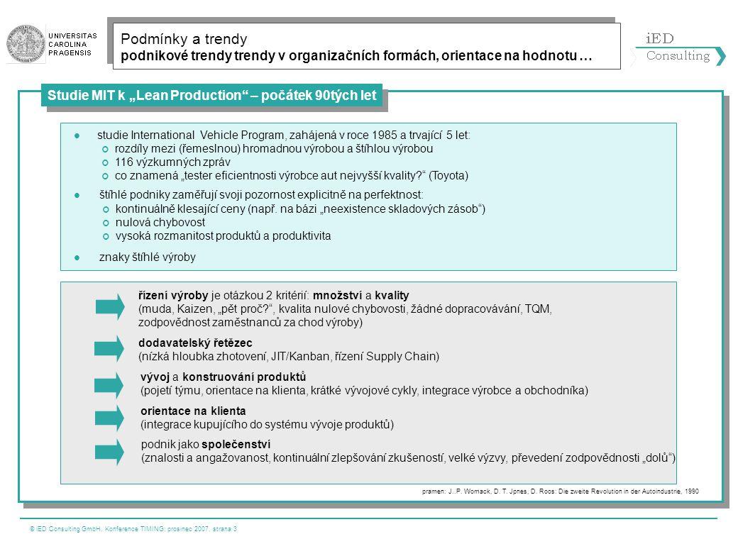 © iED Consulting GmbH, Konference TIMING; prosinec 2007, strana 4 Výsledky aktuální studie z evropského prostoru New Product development Operations strategy formulation and deployment Supply chain Supplier integr.