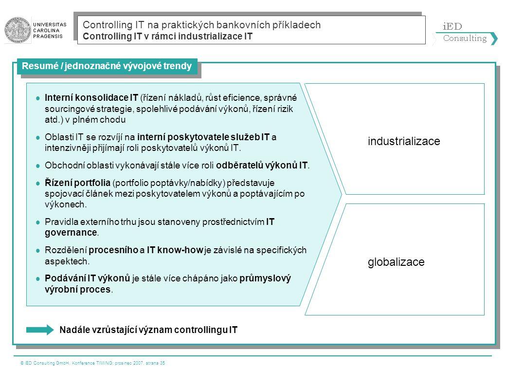 © iED Consulting GmbH, Konference TIMING; prosinec 2007, strana 35  Interní konsolidace IT (řízení nákladů, růst eficience, správné sourcingové strat