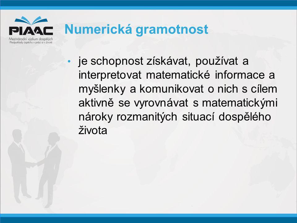 Numerická gramotnost • je schopnost získávat, používat a interpretovat matematické informace a myšlenky a komunikovat o nich s cílem aktivně se vyrovnávat s matematickými nároky rozmanitých situací dospělého života
