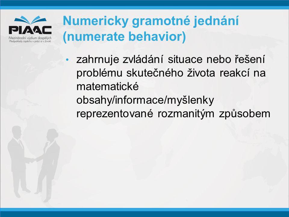 Numericky gramotné jednání (numerate behavior) • zahrnuje zvládání situace nebo řešení problému skutečného života reakcí na matematické obsahy/informace/myšlenky reprezentované rozmanitým způsobem