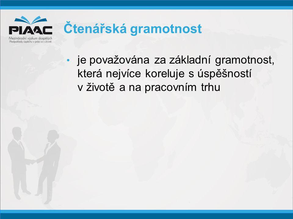 Čtenářská gramotnost • je považována za základní gramotnost, která nejvíce koreluje s úspěšností v životě a na pracovním trhu