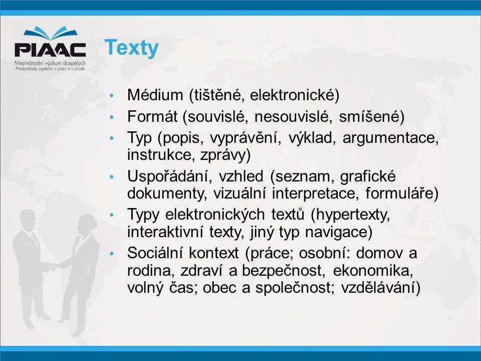 Texty • Médium (tištěné, elektronické) • Formát (souvislé, nesouvislé, smíšené) • Typ (popis, vyprávění, výklad, argumentace, instrukce, zprávy) • Uspořádání, vzhled (seznam, grafické dokumenty, vizuální interpretace, formuláře) • Typy elektronických textů (hypertexty, interaktivní texty, jiný typ navigace) • Sociální kontext (práce; osobní: domov a rodina, zdraví a bezpečnost, ekonomika, volný čas; obec a společnost; vzdělávání)