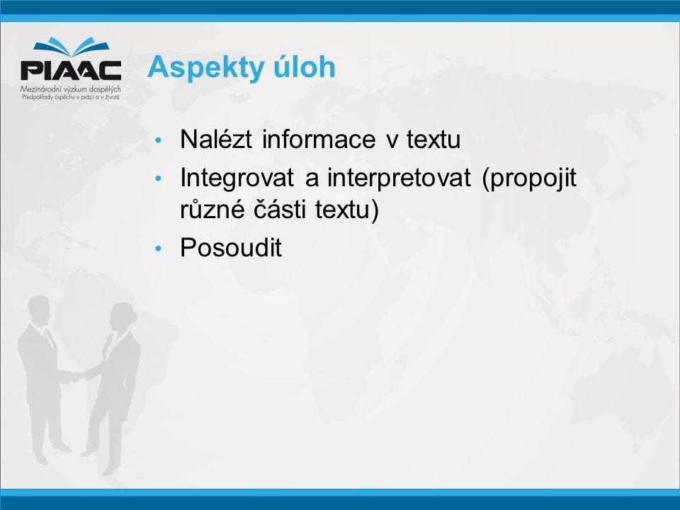Aspekty úloh • Nalézt informace v textu • Integrovat a interpretovat (propojit různé části textu) • Posoudit