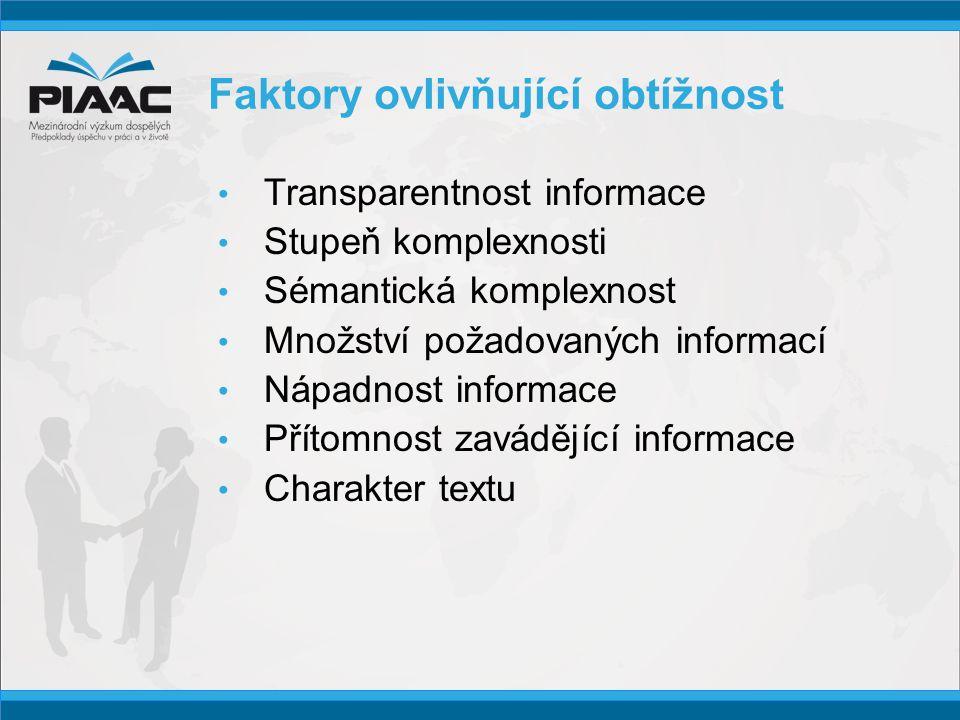 Faktory ovlivňující obtížnost • Transparentnost informace • Stupeň komplexnosti • Sémantická komplexnost • Množství požadovaných informací • Nápadnost informace • Přítomnost zavádějící informace • Charakter textu