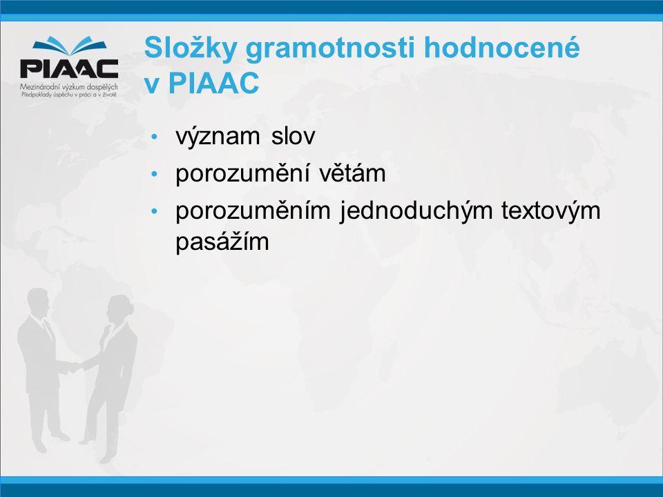 Složky gramotnosti hodnocené v PIAAC • význam slov • porozumění větám • porozuměním jednoduchým textovým pasážím