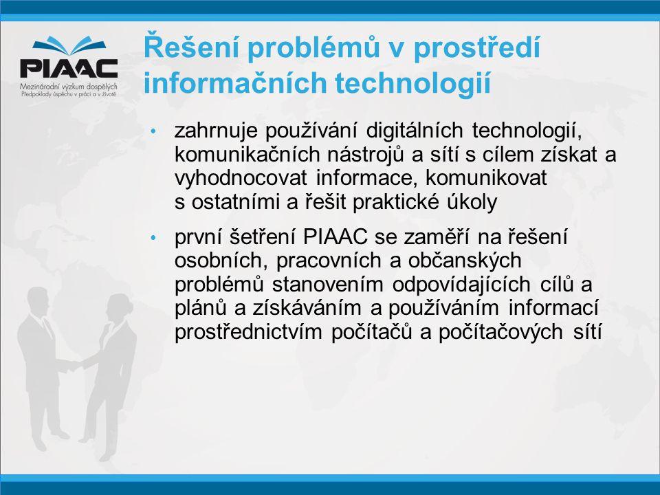 Řešení problémů v prostředí informačních technologií • zahrnuje používání digitálních technologií, komunikačních nástrojů a sítí s cílem získat a vyhodnocovat informace, komunikovat s ostatními a řešit praktické úkoly • první šetření PIAAC se zaměří na řešení osobních, pracovních a občanských problémů stanovením odpovídajících cílů a plánů a získáváním a používáním informací prostřednictvím počítačů a počítačových sítí