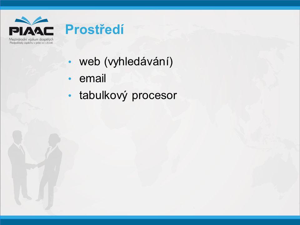 Prostředí • web (vyhledávání) • email • tabulkový procesor