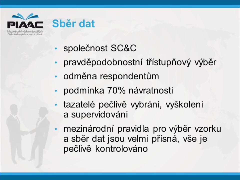 Sběr dat • společnost SC&C • pravděpodobnostní třístupňový výběr • odměna respondentům • podmínka 70% návratnosti • tazatelé pečlivě vybráni, vyškoleni a supervidováni • mezinárodní pravidla pro výběr vzorku a sběr dat jsou velmi přísná, vše je pečlivě kontrolováno