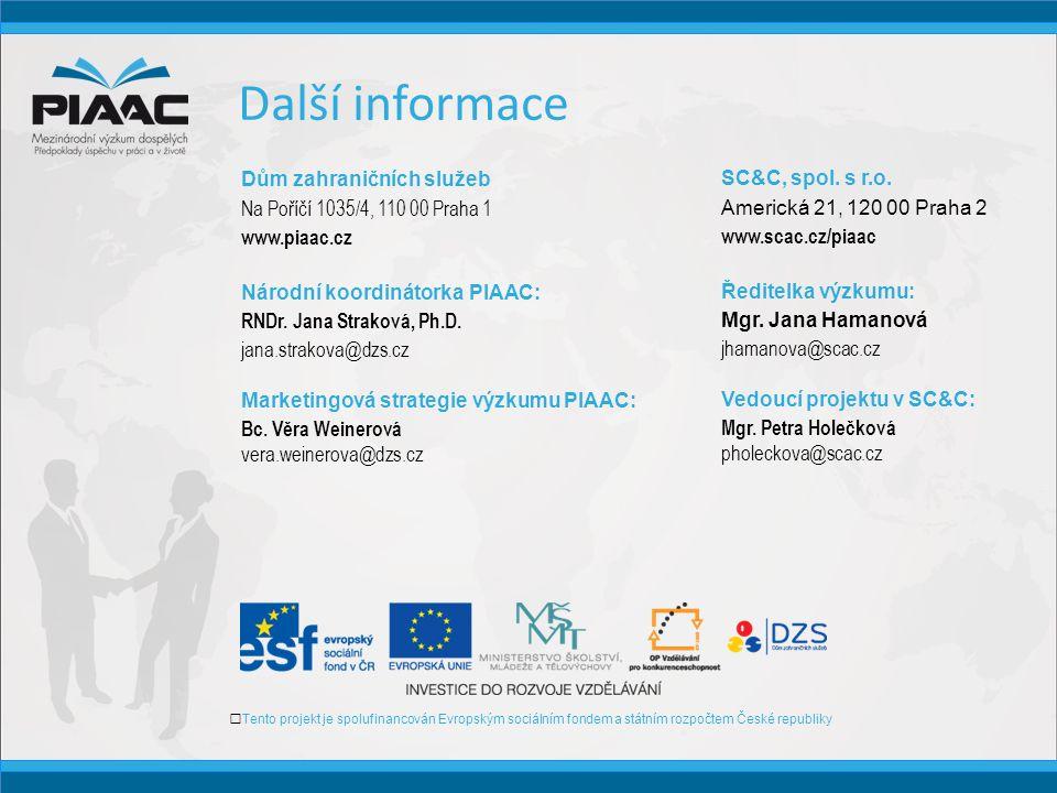 Další informace Tento projekt je spolufinancován Evropským sociálním fondem a státním rozpočtem České republiky Dům zahraničních služeb Na Poříčí 1035/4, 110 00 Praha 1 www.piaac.cz Národní koordinátorka PIAAC: RNDr.
