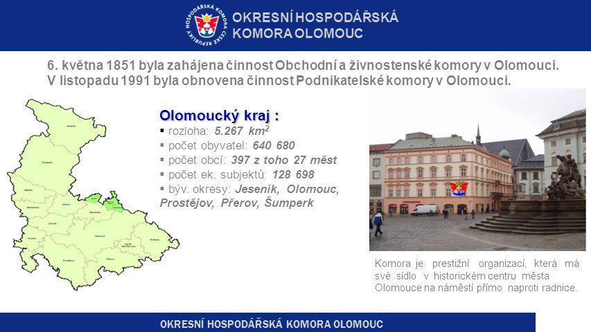 6. května 1851 byla zahájena činnost Obchodní a živnostenské komory v Olomouci. V listopadu 1991 byla obnovena činnost Podnikatelské komory v Olomouci