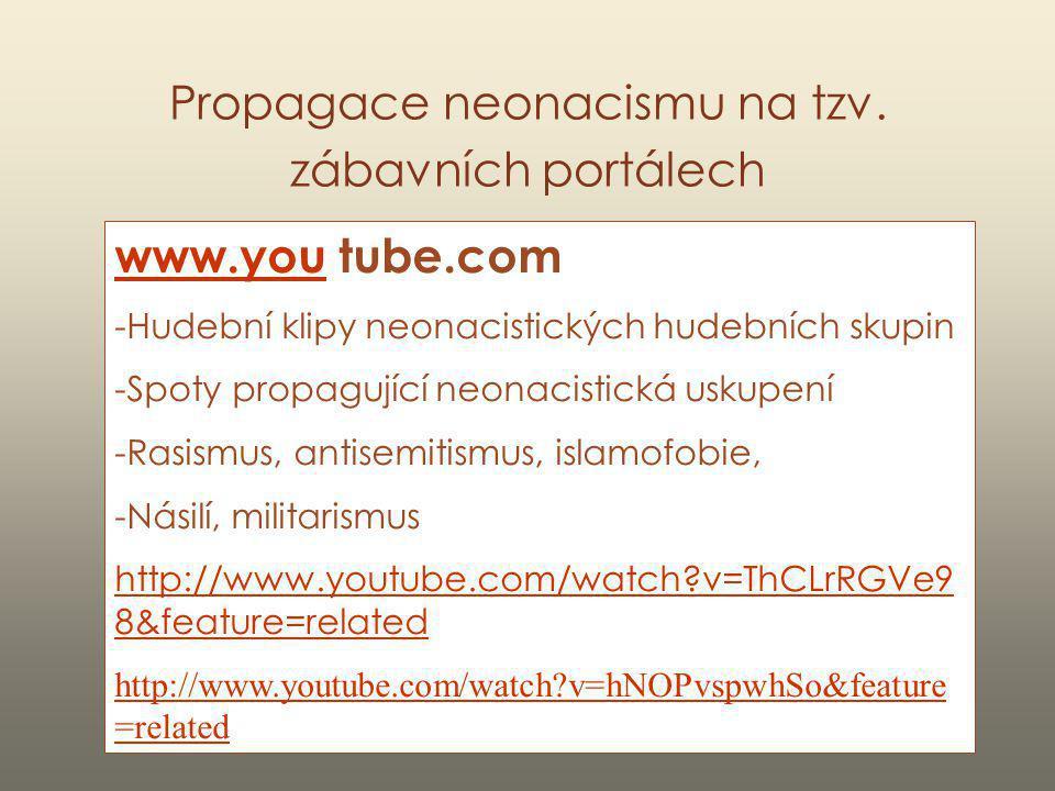 Propagace neonacismu na tzv. zábavních portálech www.youwww.you tube.com -Hudební klipy neonacistických hudebních skupin -Spoty propagující neonacisti