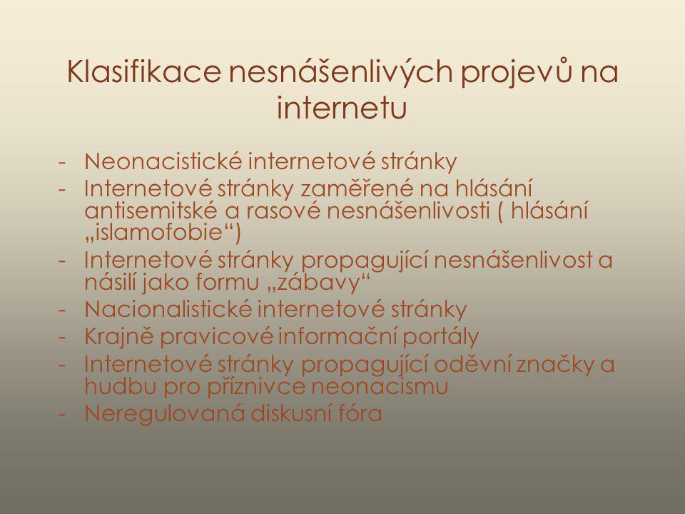 Klasifikace nesnášenlivých projevů na internetu -Neonacistické internetové stránky -Internetové stránky zaměřené na hlásání antisemitské a rasové nesn