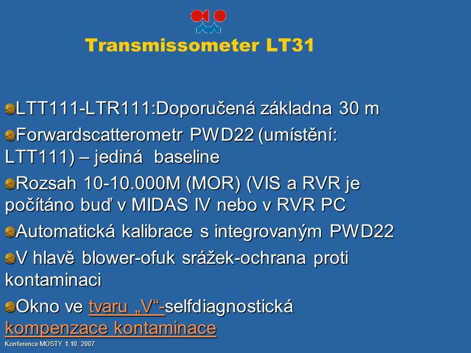 Transmissometer LT31 LTT111-LTR111:Doporučená základna 30 m Forwardscatterometr PWD22 (umístění: LTT111) – jediná baseline Rozsah 10-10.000M (MOR) (VI