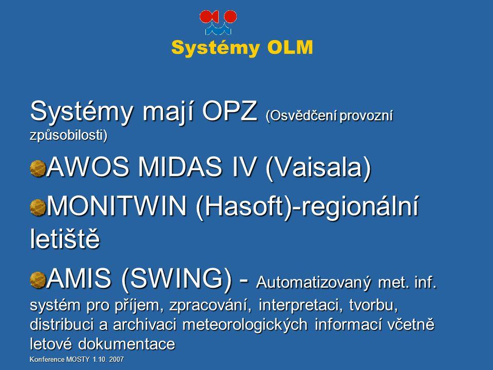 Systémy OLM Systémy mají OPZ (Osvědčení provozní způsobilosti) AWOS MIDAS IV (Vaisala) MONITWIN (Hasoft)-regionální letiště AMIS (SWING) - Automatizov