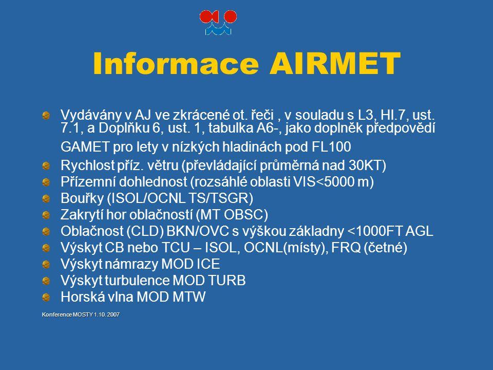 Informace AIRMET Vydávány v AJ ve zkrácené ot. řeči, v souladu s L3, Hl.7, ust. 7.1, a Doplňku 6, ust. 1, tabulka A6-, jako doplněk předpovědí GAMET p