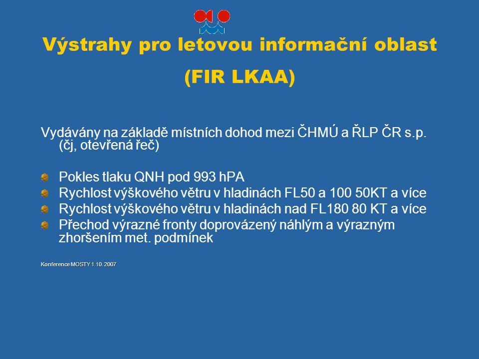 Výstrahy pro letovou informační oblast (FIR LKAA) Vydávány na základě místních dohod mezi ČHMÚ a ŘLP ČR s.p. (čj, otevřená řeč) Pokles tlaku QNH pod 9