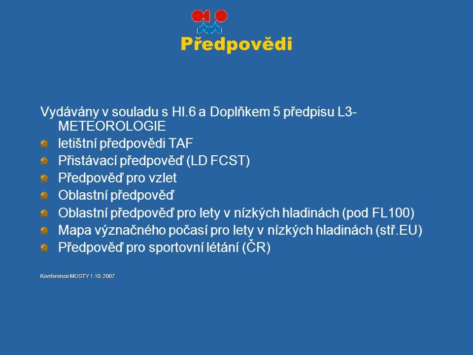 Předpovědi Vydávány v souladu s Hl.6 a Doplňkem 5 předpisu L3- METEOROLOGIE letištní předpovědi TAF Přistávací předpověď (LD FCST) Předpověď pro vzlet