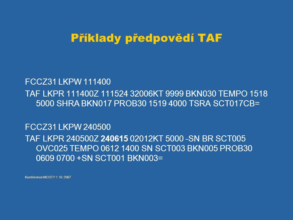 Příklady předpovědí TAF FCCZ31 LKPW 111400 TAF LKPR 111400Z 111524 32006KT 9999 BKN030 TEMPO 1518 5000 SHRA BKN017 PROB30 1519 4000 TSRA SCT017CB= FCC