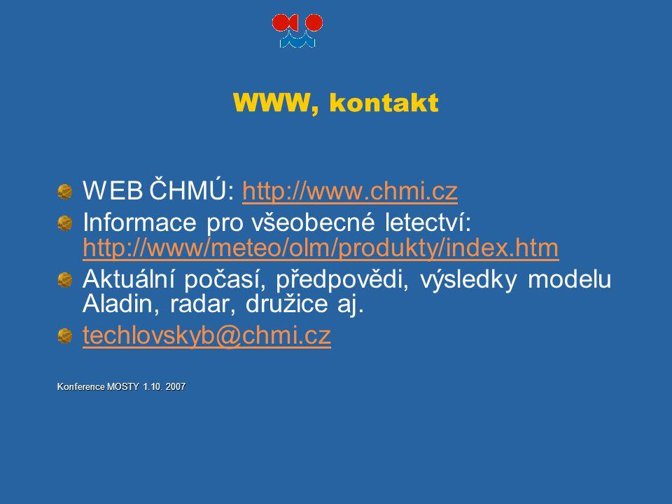 WWW, kontakt WEB ČHMÚ: http://www.chmi.czhttp://www.chmi.cz Informace pro všeobecné letectví: http://www/meteo/olm/produkty/index.htm http://www/meteo