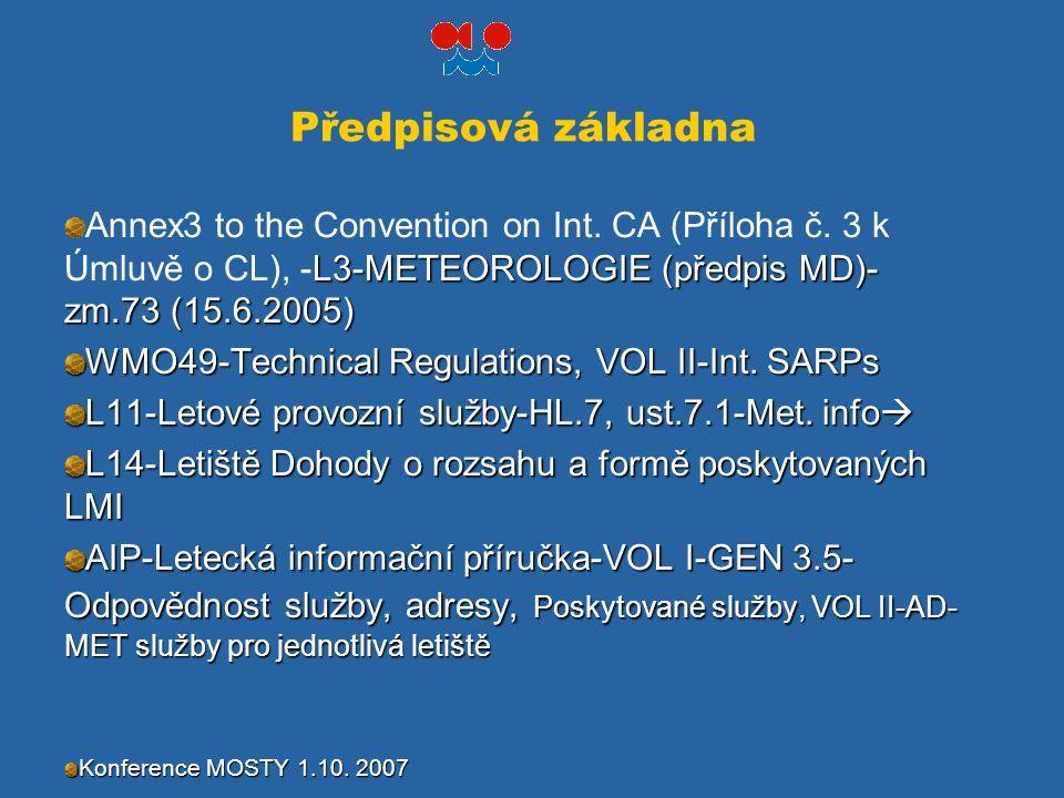 Předpisová základna L3-METEOROLOGIE (předpis MD)- zm.73 (15.6.2005) Annex3 to the Convention on Int. CA (Příloha č. 3 k Úmluvě o CL), -L3-METEOROLOGIE