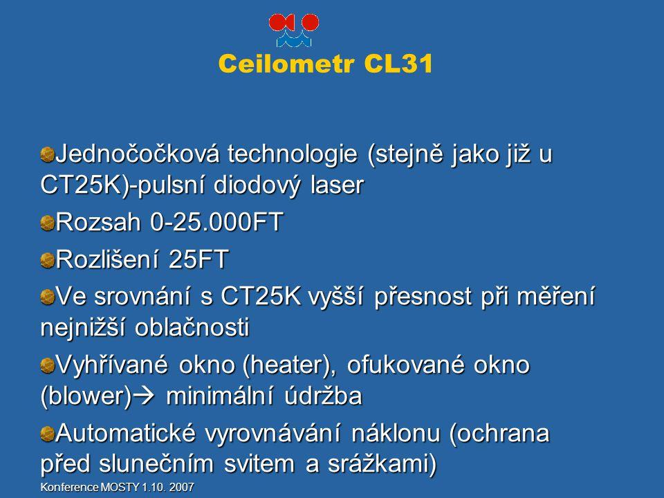 Ceilometr CL31 Jednočočková technologie (stejně jako již u CT25K)-pulsní diodový laser Rozsah 0-25.000FT Rozlišení 25FT Ve srovnání s CT25K vyšší přes