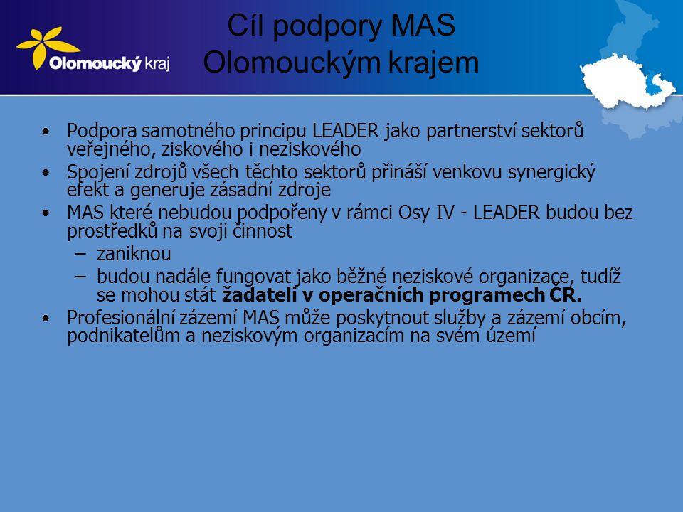 Cíl podpory MAS Olomouckým krajem •Podpora samotného principu LEADER jako partnerství sektorů veřejného, ziskového i neziskového •Spojení zdrojů všech těchto sektorů přináší venkovu synergický efekt a generuje zásadní zdroje •MAS které nebudou podpořeny v rámci Osy IV - LEADER budou bez prostředků na svoji činnost –zaniknou –budou nadále fungovat jako běžné neziskové organizace, tudíž se mohou stát žadateli v operačních programech ČR.