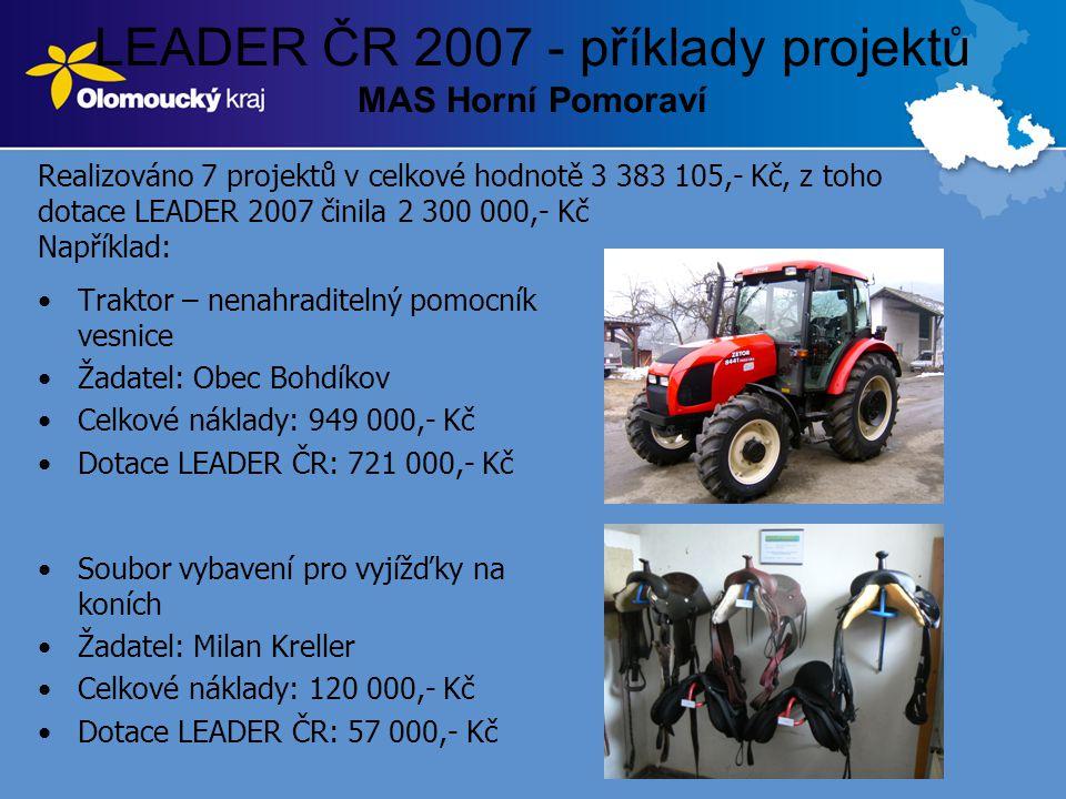 LEADER ČR 2007 - příklady projektů MAS Horní Pomoraví •Traktor – nenahraditelný pomocník vesnice •Žadatel: Obec Bohdíkov •Celkové náklady: 949 000,- K