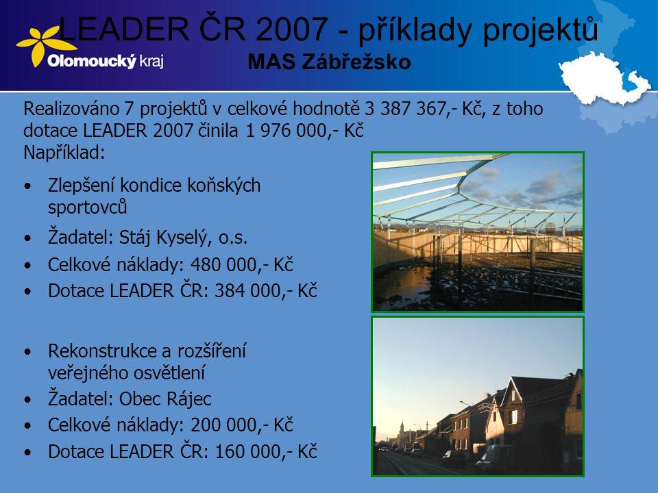 LEADER ČR 2007 - příklady projektů MAS Zábřežsko •Zlepšení kondice koňských sportovců •Žadatel: Stáj Kyselý, o.s. •Celkové náklady: 480 000,- Kč •Dota