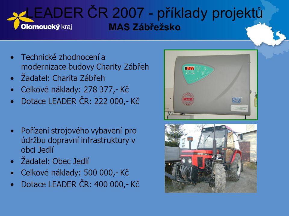 LEADER ČR 2007 - příklady projektů MAS Zábřežsko •Technické zhodnocení a modernizace budovy Charity Zábřeh •Žadatel: Charita Zábřeh •Celkové náklady: