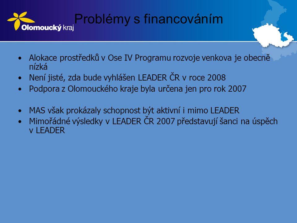 Problémy s financováním •Alokace prostředků v Ose IV Programu rozvoje venkova je obecně nízká •Není jisté, zda bude vyhlášen LEADER ČR v roce 2008 •Podpora z Olomouckého kraje byla určena jen pro rok 2007 •MAS však prokázaly schopnost být aktivní i mimo LEADER •Mimořádné výsledky v LEADER ČR 2007 představují šanci na úspěch v LEADER