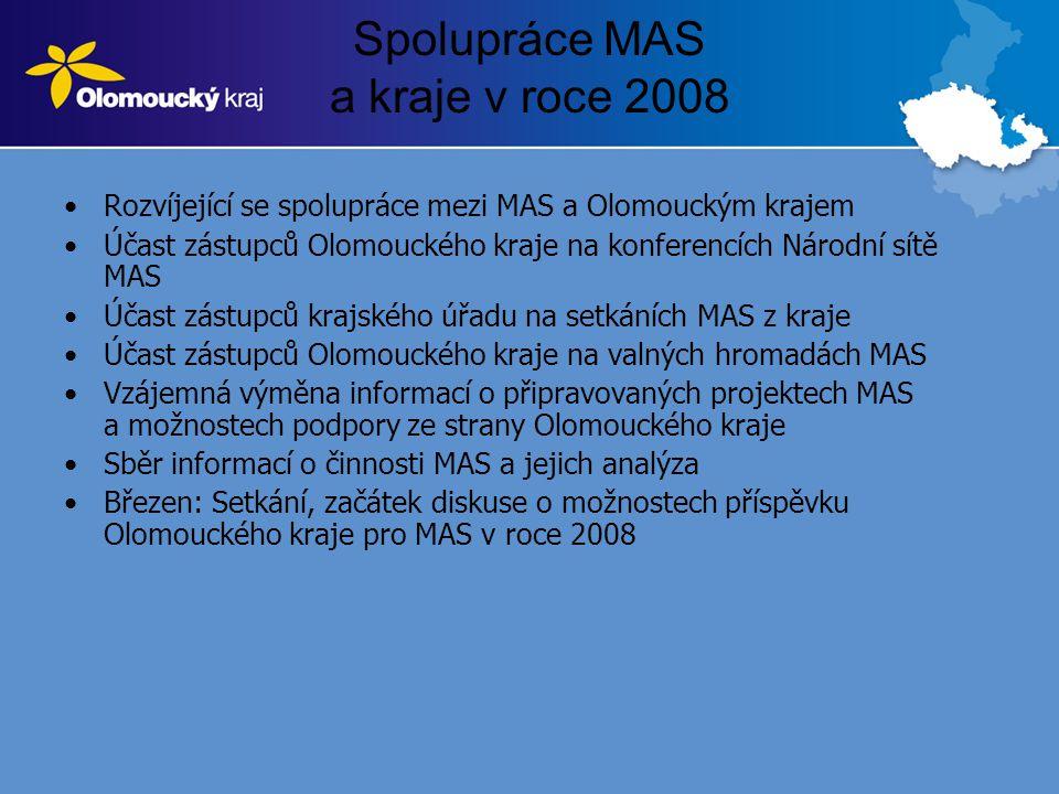 Spolupráce MAS a kraje v roce 2008 •Rozvíjející se spolupráce mezi MAS a Olomouckým krajem •Účast zástupců Olomouckého kraje na konferencích Národní sítě MAS •Účast zástupců krajského úřadu na setkáních MAS z kraje •Účast zástupců Olomouckého kraje na valných hromadách MAS •Vzájemná výměna informací o připravovaných projektech MAS a možnostech podpory ze strany Olomouckého kraje •Sběr informací o činnosti MAS a jejich analýza •Březen: Setkání, začátek diskuse o možnostech příspěvku Olomouckého kraje pro MAS v roce 2008