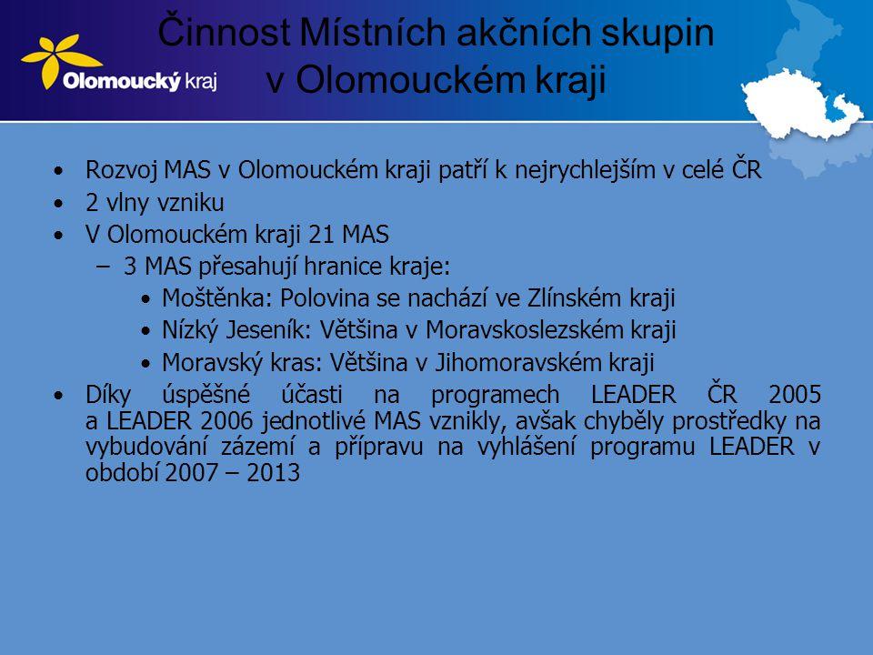 Činnost Místních akčních skupin v Olomouckém kraji •Rozvoj MAS v Olomouckém kraji patří k nejrychlejším v celé ČR •2 vlny vzniku •V Olomouckém kraji 2