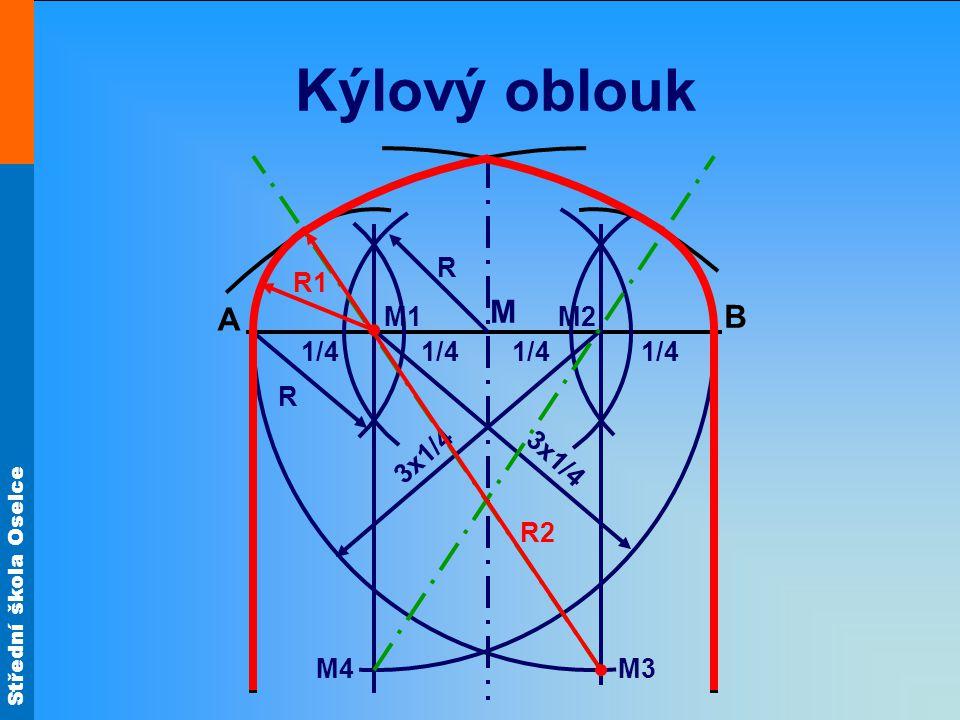 Střední škola Oselce Kýlový oblouk A B M 1/4 R R M2M1 M4M3 1/4 3x1/4 R2 R1