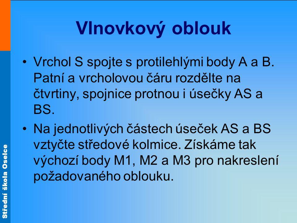 Střední škola Oselce Vlnovkový oblouk •Vrchol S spojte s protilehlými body A a B.